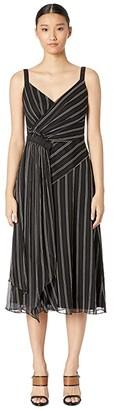 Jason Wu Painterly Stripe Print Ruched Dress (Black Multi) Women's Dress