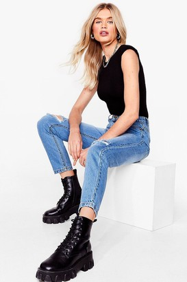 Nasty Gal Womens We Knee-d These Distressed Mom Jeans - Blue - 10