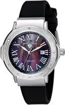 Swiss Legend Women's 20032D-01 South Beach Collection Diamond Accented Black Rubber Watch