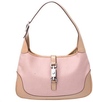 Gucci Pink/Tan Canvas and Leather Medium Jackie Hobo