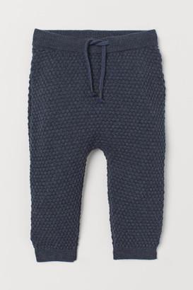 H&M Textured-knit Pants - Blue