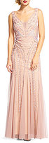 Adrianna Papell Plunging V-Neck Sleeveless Beaded Gown