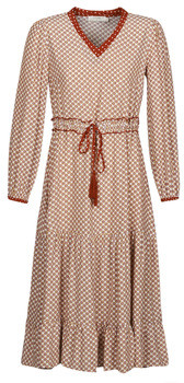 Cream MALOU women's Long Dress in Bordeaux
