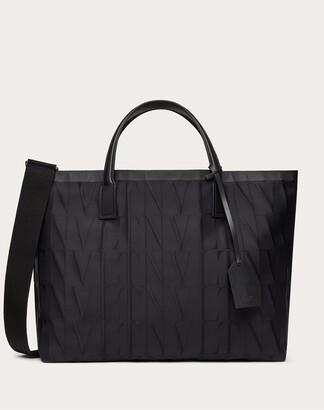 Valentino Garavani Uomo Vltn Times Nylon Jacquard Tote Bag Man Black 100% Poliammide OneSize