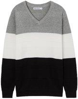 Meters/bonwe Men's V Neck Long Sleeve Color Block Pullover Sweater, XL