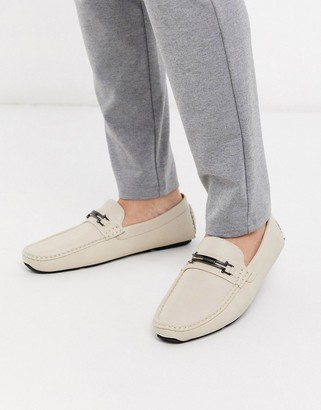 Truffle Collection metal bar loafer in beige