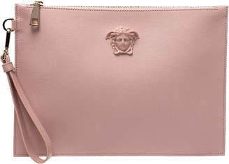 Versace Pink Leather Medusa Clutch
