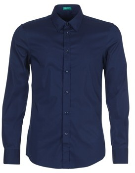 Benetton MAKA men's Long sleeved Shirt in Blue