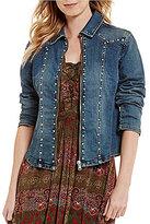 Reba Floral Embroidered Studded Denim Jacket