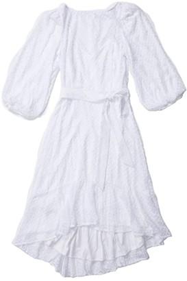 Calvin Klein Textured Belted 3/4 Sleeve Dress (White) Women's Dress