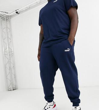 Puma PLUS Essentials skinny fit joggers in navy