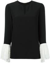 Saint Laurent contrasting bell sleeve blouse