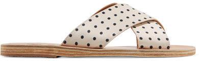 Ancient Greek Sandals Thais Polka-dot Matte-satin Slides - White