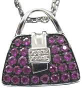 Mirabelle 18K White Gold 1.00ct Pink Sapphire & .03ct Diamond Purse Pendant Necklace