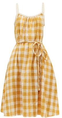 Ace&Jig Noelle Checked Tie-waist Cotton Dress - Womens - Yellow