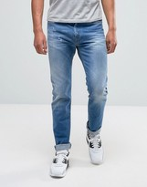 Replay Anbass Slim Powerstretch Jean Light Blue Wash Abraisions