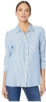 Tommy Bahama Cabana Stripe Linen Long Sleeve Shirt (Turkish Sea) Women's Clothing