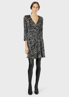 Emporio Armani Satin Dress With Crossover Neck And Brushstroke Print