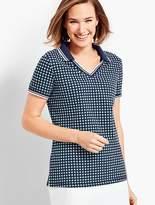 Talbots UPF 50 Beacon Dot Pique Polo Shirt
