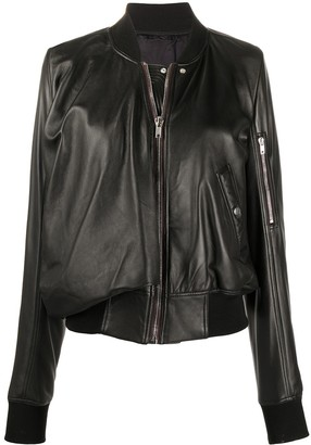 Rick Owens Long-Sleeve Leather Bomber Jacket