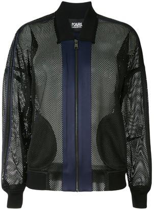 Karl Lagerfeld Paris Mesh Bomber Jacket