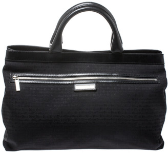 Christian Dior Black Fabric and Leather Tote