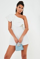 Missguided White One Shoulder Frill Scuba Playsuit