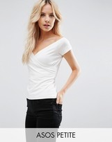 Asos Top with Wrap Front and Cap Sleeves