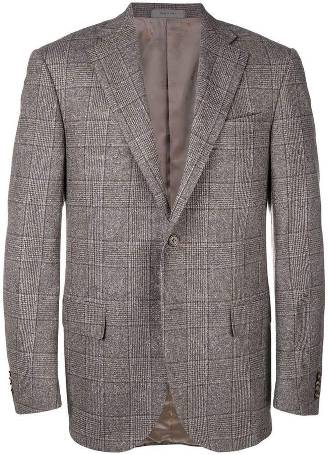 Corneliani plaid single breasted blazer