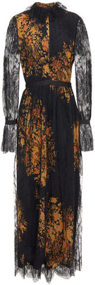Etro Grosgrain-trimmed Floral-print Silk Crepe De Chine And Lace Maxi Dress