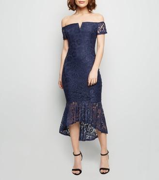 New Look AX Paris Lace Dip Hem Bardot Bodycon Dress