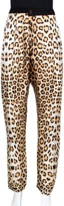 Roberto Cavalli Beige Leopard Print Silk Gathered Waist Pants L