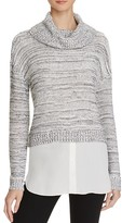 Aqua Shirttail Hem Turtleneck Sweater