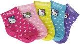 Hello Kitty 5 Pack Heart Dot Ankle Socks (Baby)-Multicolor-0-12M