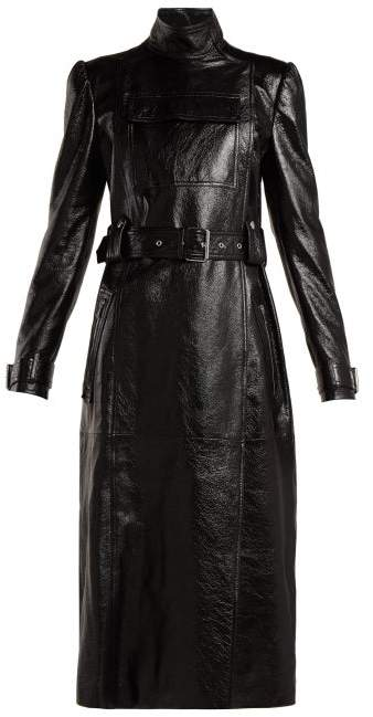 Valentino Dragon Embroidered Double Breasted Leather Coat - Womens - Black Print