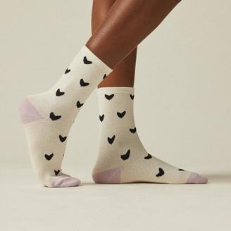 Love & Lore Mini Hearts Crew Sock Crema & Lavender