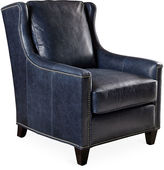 Massoud Furniture Varick Club Chair, Blue Leather