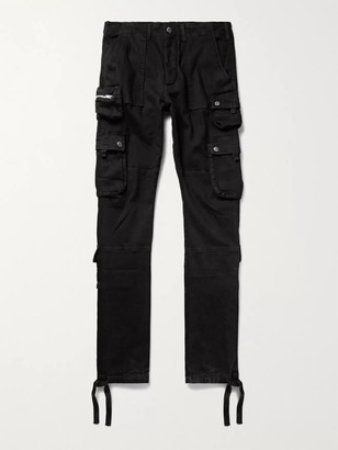 Amiri Tapered Stretch-Denim Cargo Trousers - Men - Black