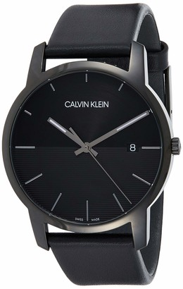 Calvin Klein Men's Stainless Steel Quartz Watch with Leather Strap