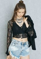 Forever 21 Lace Up Sheer Top
