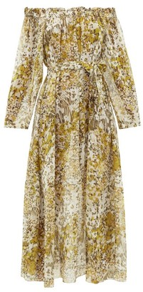 Marios Schwab On The Island By Los Bajos Floral-print Silk-georgette Dress - Womens - Yellow Print