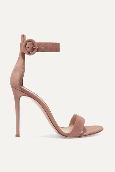 Gianvito Rossi Portofino 105 Suede Sandals - Neutral