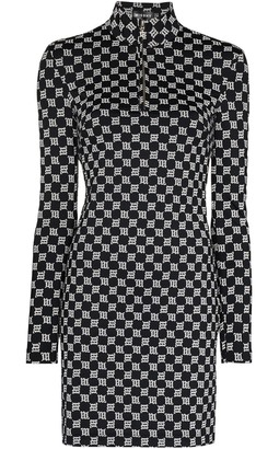 Misbhv Reflective Monogram-Print Mini Dress