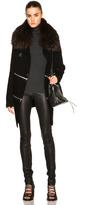 Barbara Bui Long Zip Cardigan with Raccoon Fur Collar