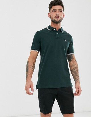 Abercrombie & Fitch icon logo tipped pique polo in green