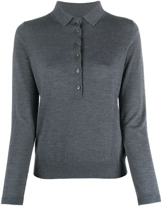 Allude Long-Sleeved Button Up Polo Shirt