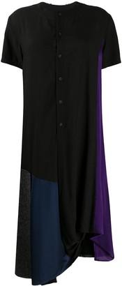 Yohji Yamamoto Colour Block Asymmetric Hem Shirt Dress