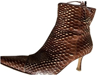 Chanel Brown Exotic leathers Ankle boots