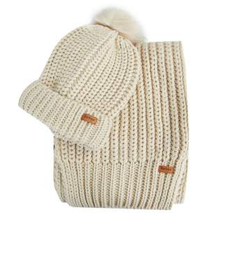 Barbour Saltburn Scarf And Beanie Set Colour: PEARL, Size: One Size