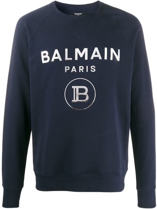 Balmain Metallic Logo Print Sweatshirt